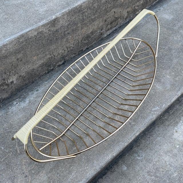 Mid-Century Modern Wicker Wrapped Brass Fruit Bread Basket For Sale - Image 3 of 11