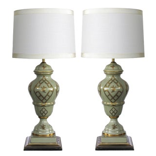 A good quality and elegant pair of Marbro Lamp Co. 1960's baluster-form celadon-glazed lamps with gilt decoration For Sale