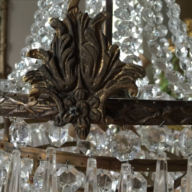 French Acanthus Drop Crystal Chandelier For Sale - Image 3 of 9