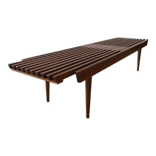 1960s Mid-Century Modern Slat Bench Coffee Table For Sale