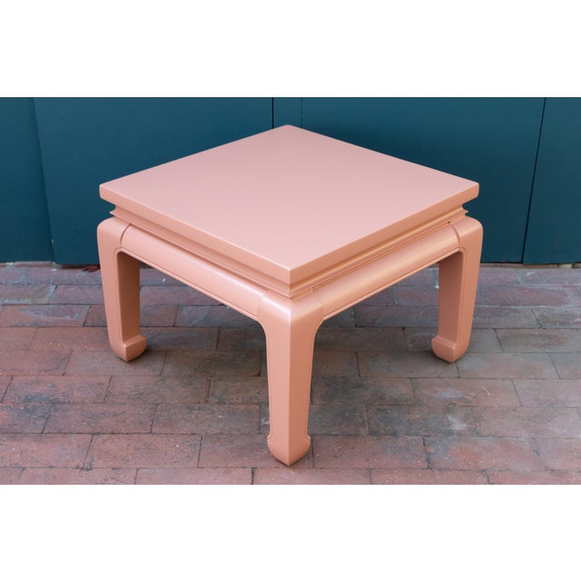 Gorgeous pair of solid mahogany Asian tables in the style of Baker. Refinished and freshly lacquered in terra-cotta matte...