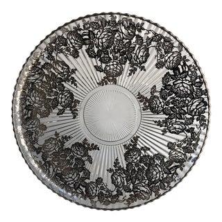 1920s Sterling Silver Overlay Serving Platter For Sale