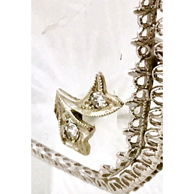 Metal Antique Platinum Etched Crystal & Diamond Brooch For Sale - Image 7 of 9