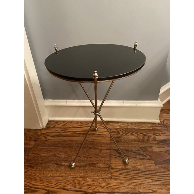 Vintage Maison Bagues Nickel and Marble Campaign Style Tripod Side Table For Sale - Image 9 of 9