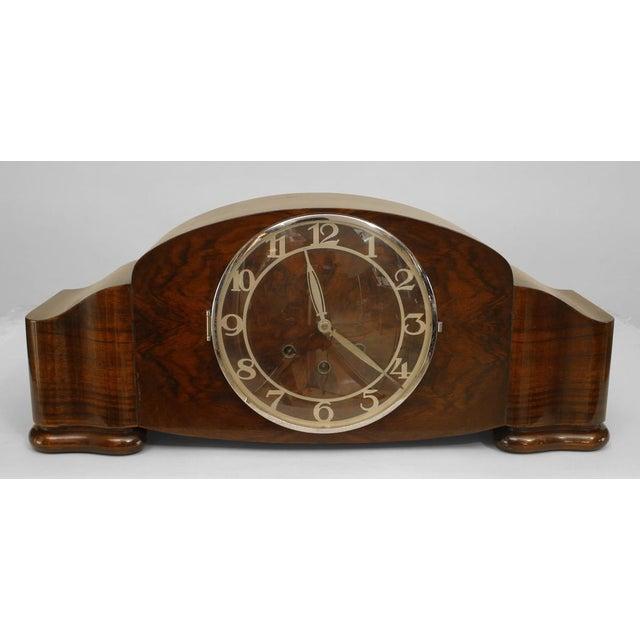 1930s German Art Deco Walnut Mantel Clock For Sale - Image 5 of 5