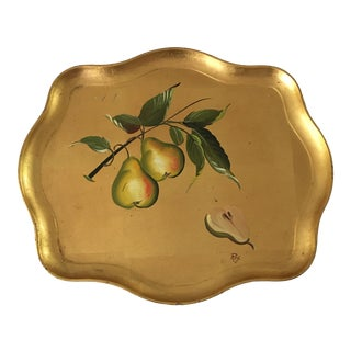 Vintage Gold Pear and Flower Tole Tray- Signed For Sale