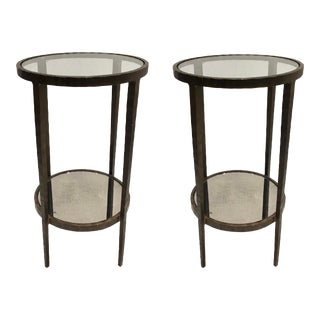 Modern Chiseled Bronze Accent Tables - A Pair For Sale