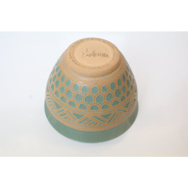 Beautiful aqua-green and terra cotta planter-urn in ceramic. Gorgeous art nouveau design. Marked Endleman.