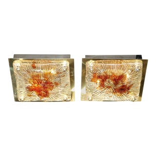 Midcentury Brass & Handblown Clear/Smoked Ruby Murano Glass Flush Mounts - A Pair For Sale