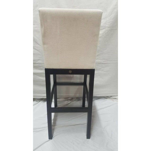 Cjc Concepta Barcelona Bar Stool Ivory Fabric Wenge Wood Chair For Sale - Image 4 of 11