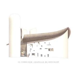 Le Corbusier, Chapelle De Ronchamp, Offset Lithograph For Sale