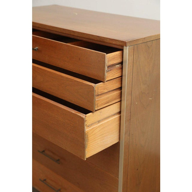 Mid Century Modern Paul McCobb for Calvin Walnut & Brass Chest of Drawers or Highboy - Image 8 of 9