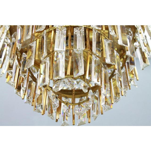 Palwa Pair of Crystal Glass Flush Mount Chandelier by Palwa, Germany, 1970s For Sale - Image 4 of 11