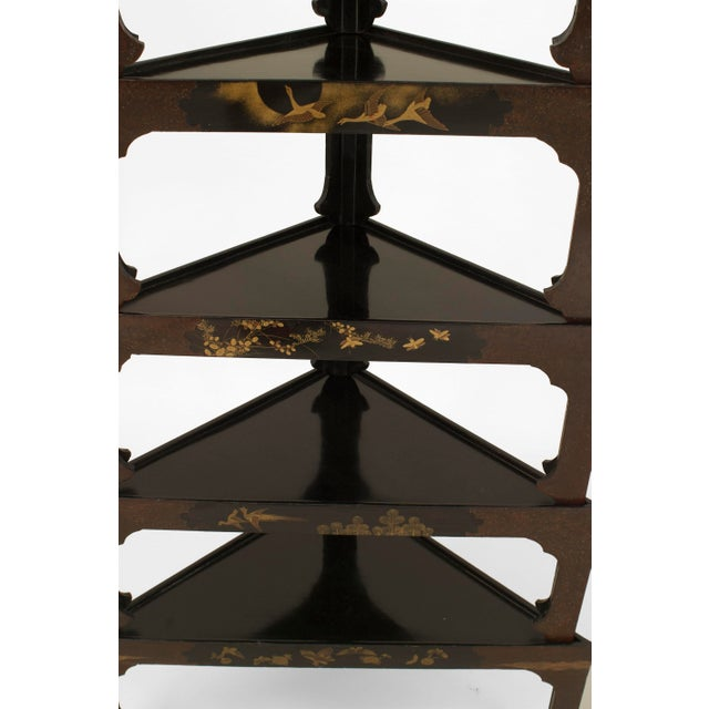 Asian Asian Japanese Stacked Black Lacquered Tables- Set of 7 For Sale - Image 3 of 5