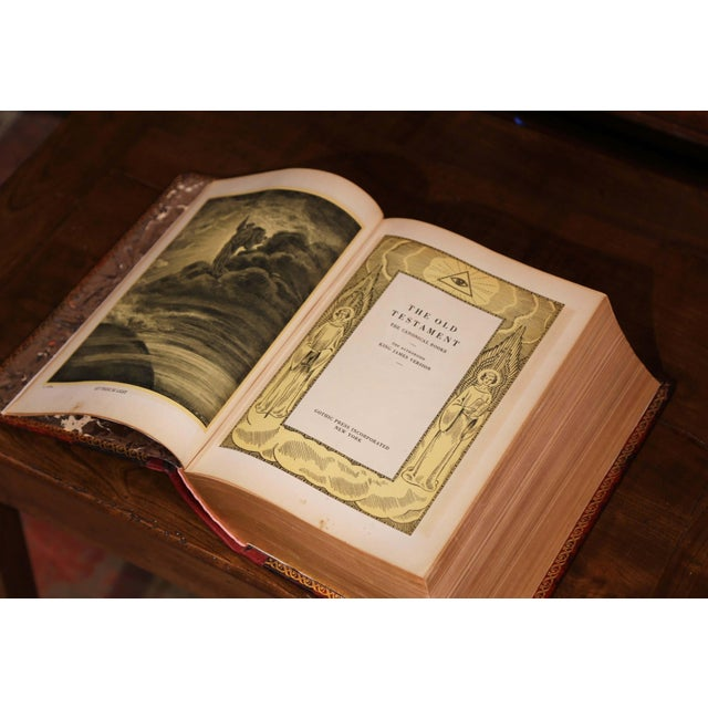 Early 20th Century Leather and Gilt Illustrated King James Version Family Bible For Sale - Image 4 of 12