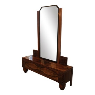 French Art Deco Vanity/ Dresser With Tilting Bronze Framed Mirror and Carved Relief Panels For Sale