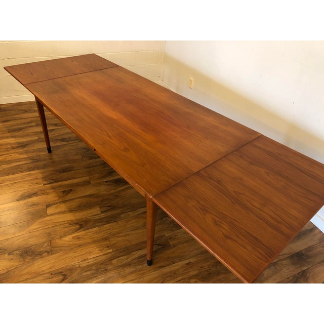 1960s Large Teak Draw Leaf Dining Table by Niels Otto Møller for Jl Møller, Made in Denmark For Sale - Image 5 of 13