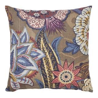 Schumacher Zanzibar Linen Print Pillow in Cerulean For Sale