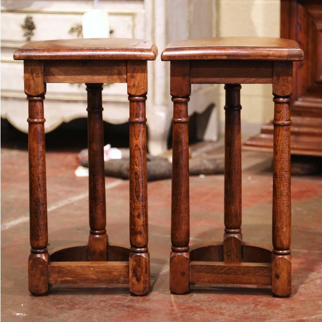 19th Century Louis XIII Oak Three-Leg Demilune Side Tables - a Pair For Sale In Dallas - Image 6 of 9