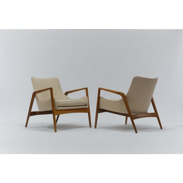 Pair of lounge chairs by Ib Kofod Larsen produced by Christensen & Larsen Denmark 1960s. Oak frames, excellent vintage...