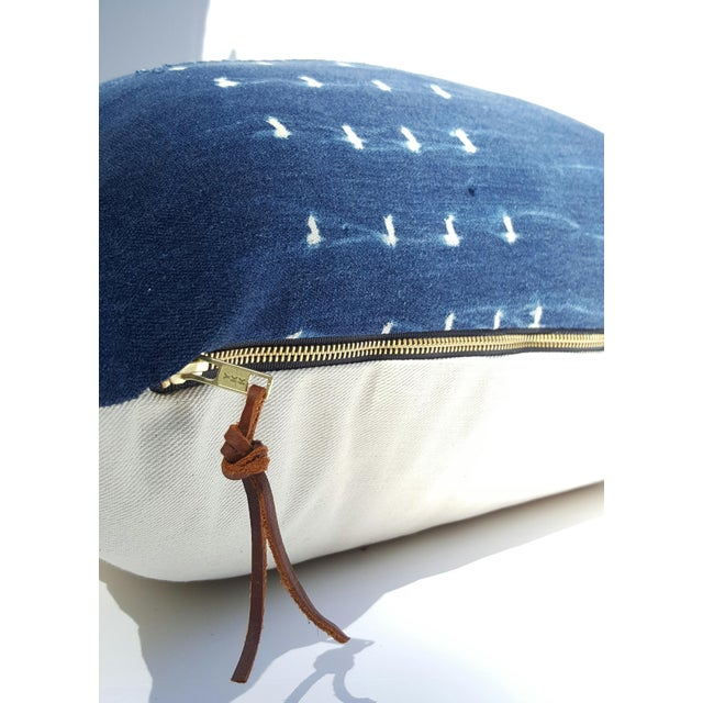 "Vintage 24"" Indigo Mud Cloth Pillow Cover - Image 3 of 3"