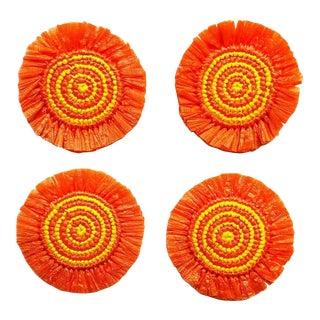 Orange & Yellow Woven Fringe Coasters - Set of 4 For Sale
