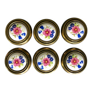 Vintage Brass and Ceramic Floral Drawer Knobs - Set of 6 For Sale