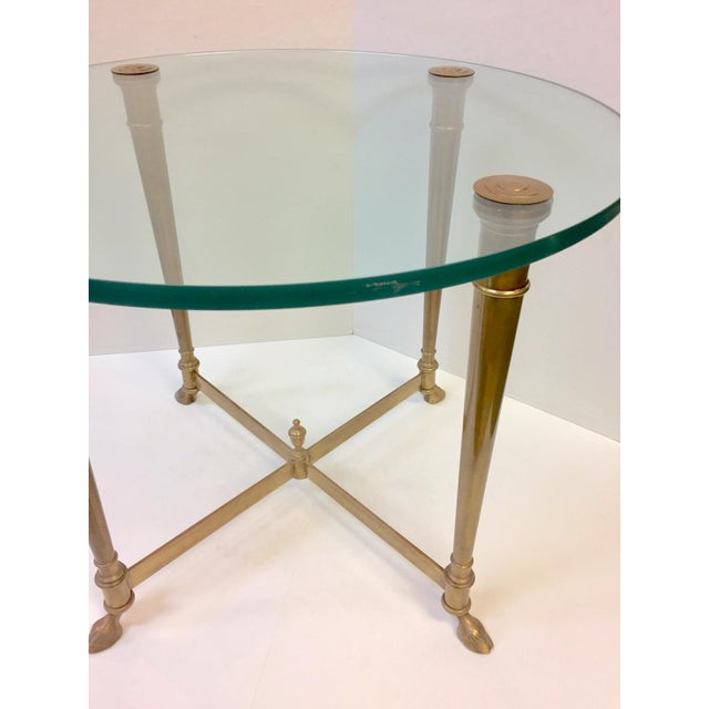 1960s Hollywood Regency Glass and Brass Hoof Table For Sale In West Palm - Image 6 of 9