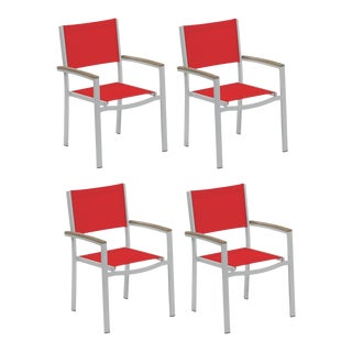 Outdoor Sling Arm Chair, Vintage and Red (Set of 4) For Sale