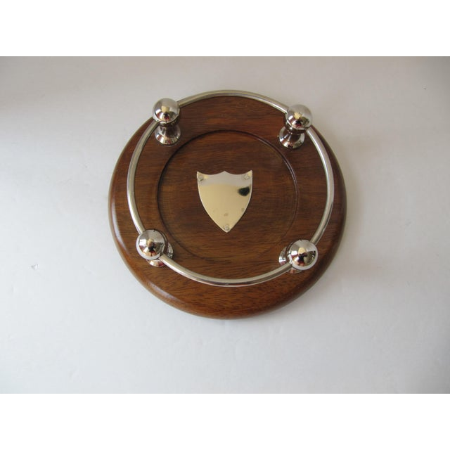 2000s Wood & Chrome Wine Coaster For Sale - Image 5 of 5