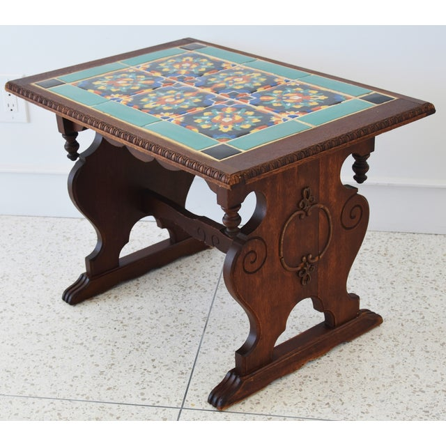 Mid 20th Century 1940s California Mission Tile Oak Accent Coffee Table For Sale - Image 5 of 13