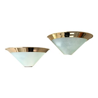 Vintage 1980's Stilnovo Brass and Glass Sconces - a Pair For Sale