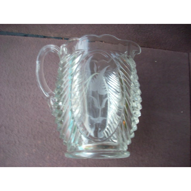 Traditional Floral Pressed Glass Pitcher For Sale - Image 3 of 4