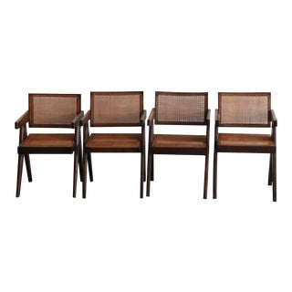 """Authentic 1955-57 Pierre Jeanneret Caned """"Office Armchair"""" - Set of 4 For Sale"""
