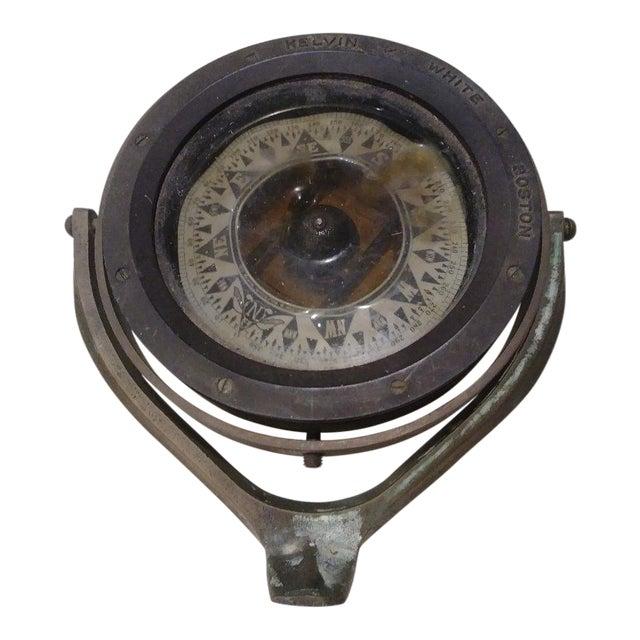 Vintage Brass Kelvin White Boston Ships Compass For Sale