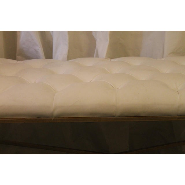 Worlds Away White Tufted Leatherette Gold Faux Bamboo Bench For Sale - Image 9 of 12