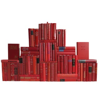 Midcentury Orchard Book Wall : Set of Seventy Five Decorative Books in Shades of Red For Sale