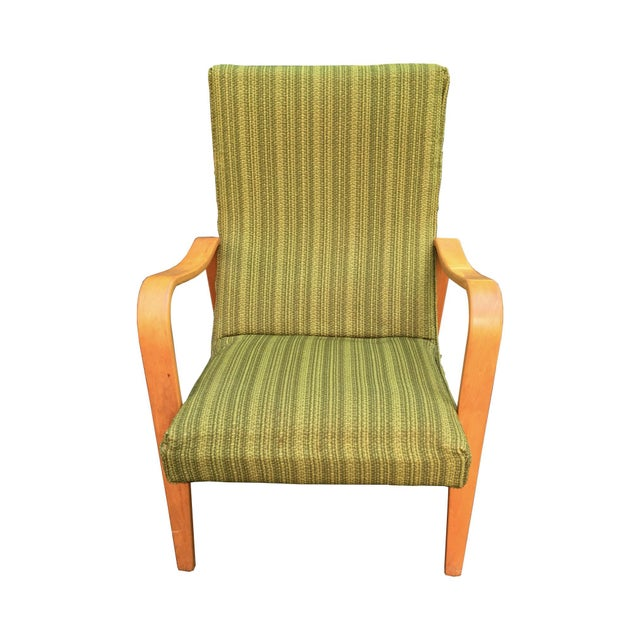 A Thonet bentwood lounge chair with its original green, boucle upholstery! Classic, clean, elegant. There is some minor...