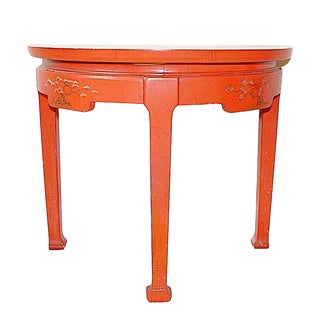 Chinoiserie Persimmon Demi Lune Side Table