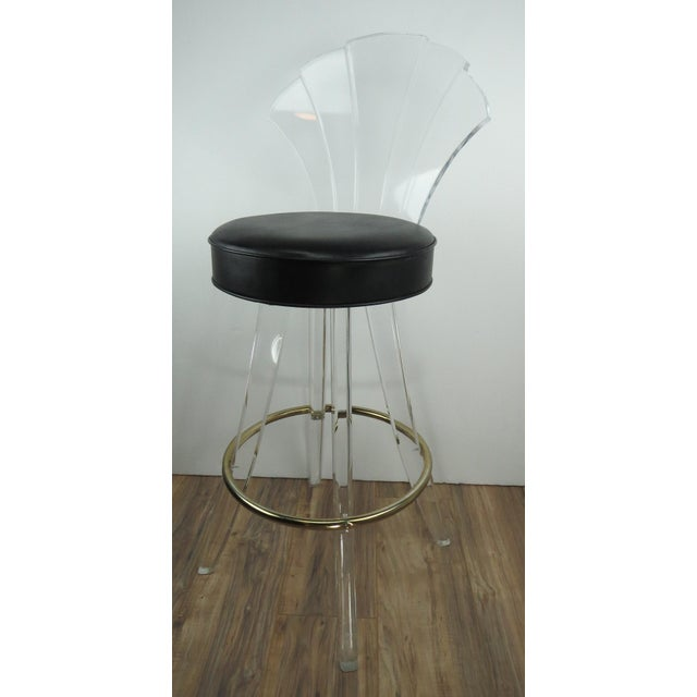 1970s Vintage Charles Hollis Jones Style Lucite Bar Stool For Sale - Image 13 of 13