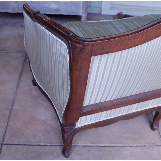 Light Green Italian Louis XV Style Walnut Sofa For Sale - Image 8 of 13
