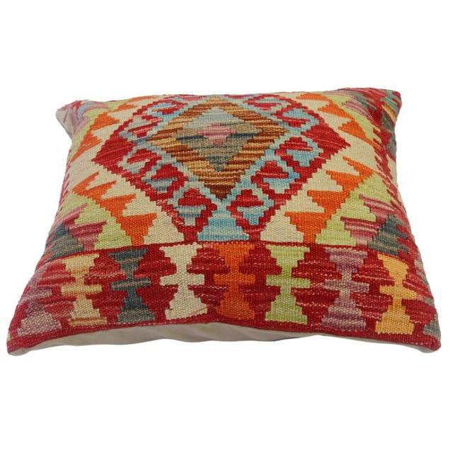 """Asian Cherly Red/Ivory Hand-Woven Kilim Throw Pillow(18""""x18"""") For Sale - Image 3 of 6"""