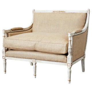 French Louis XVI Swedish Gustavian Style Marquis Bergère For Sale