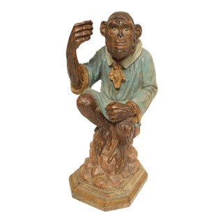 Italian Wood Carved Sitting Monkey Sculpture For Sale