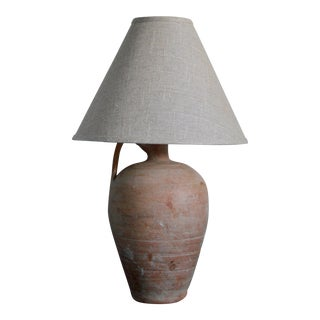 Early 20th Century Terra Cotta Pot Lamp With Shade For Sale