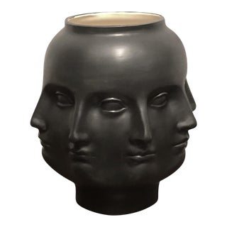 Perpetual Face Dora Maar Black Ceramic Head Vessel Vase For Sale