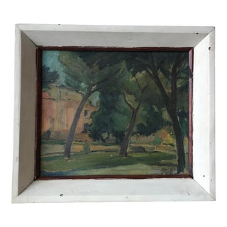 1968 Vintage Aldo Quaglia Italian Wooded Park Scene Painting For Sale