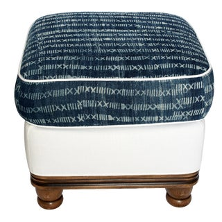 Vintage Indigo and White Linen Ottoman