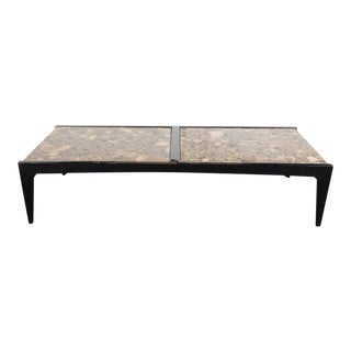 Mid-Century Modernist Ebonized Walnut Table with Metamorphic Granite Top For Sale