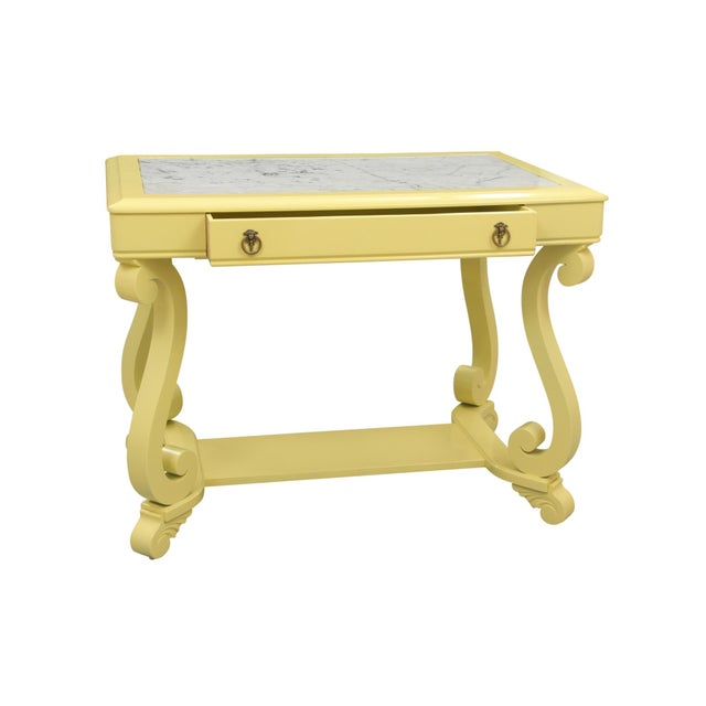 Mission Avenue Studio Neoclassical Style Yellow Marble Top Hall Table For Sale - Image 4 of 10